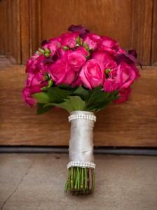 "alt=""Beautiful Vibrant Pink bridal Bouquet"""